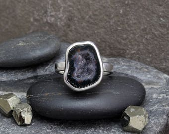 Oco Agate Geode & Sterling Silver Ring