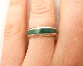 Vintage Sterling Silver Green Turquoise Inlay Band Size 7