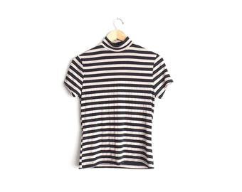 Size S // STRETCHY STRIPED TURTLENECK // Short Sleeve Top - Tan & Black - Wide Stripes - French New Wave - Minimalist - Vintage '90s.