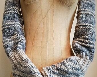 Hand Knit Pair of Rustic Fingerless Arm Warmers Sleeves by Wildling Art