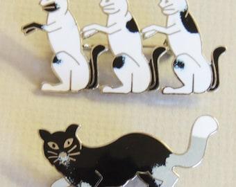 2 Enamel CAT Brooches