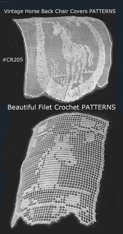 Horse Filet Crochet Horse Chair Bback Covers Filet Crochet Pattern