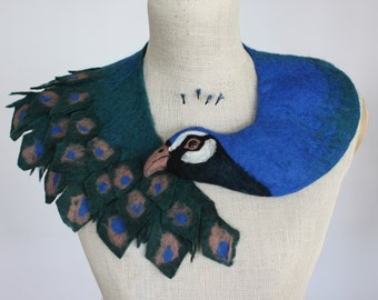 Peacock - felted wool animal scarf