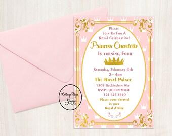 Princess Birthday, Princess Invitation, Personalized Birthday Invitation, DIGITAL, YOU PRINT, Princess Birthday Invitation, Princess Invite