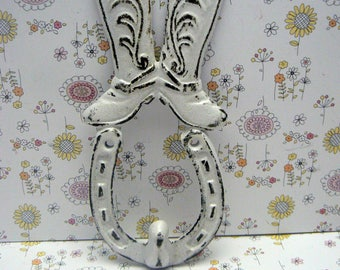 Cowboy Western Boot Horseshoe Cast Iron White Shabby Chic Wall Hook
