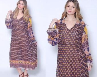 Vintage 70s INDIAN Cotton Dress HIPPIE Dress Boho Festival Dress 70s Indian Block Print Dress