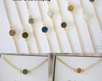 Tiny Gold Druzy Necklace Double Sided, Crystal Necklace, Thin Druzy Pendant, Gold Filled, Frost Pendant, Natural, Natural Stone