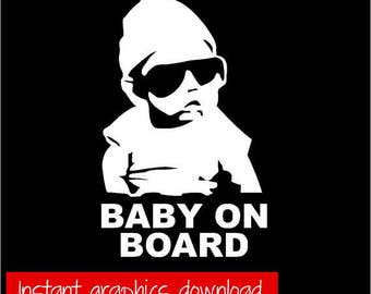 Baby On Board Car Decal SVG File - Instant Download