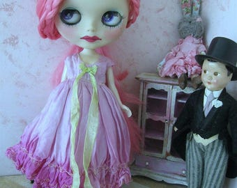 BLYTHE DRESS #5 - Vintage Styled Shabby Elegance Tattered/Layered/Hand-Dyed Silk Dress  -  #5 - Pinkish Purple