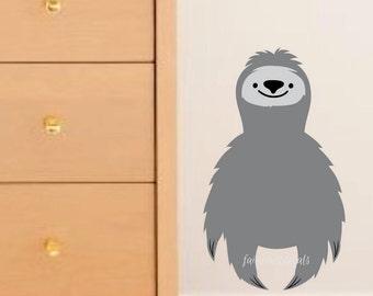 Sloth wall decal, woodland animal, sloth, sloth decal, nursery wall decal, sloth wall sticker, zoo animal decal, grey sloth sticker, sloth
