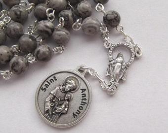 Handmade Chaplet of Saint Anthony Padua Gray Jasper Rosary