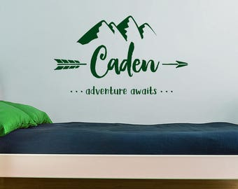 Wall Decal, Personalized Name, Mountain Nursery Decal, Bedroom Decor, Adventure Awaits Arrow Decor, Custom Name