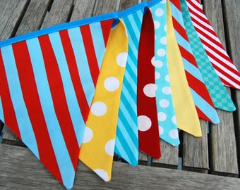 Vintage Circus Theme Birthday Party Bunting Banner - Red, Yellow, Aqua Blue, White Fabric Flags - Carnival, Wedding, Shower, Festival