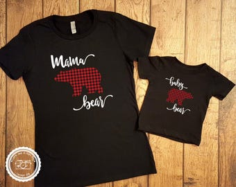 Mama Bear Baby Bear Shirt Set- Mommy and Me Set- Mother Son Outfits- Lumberjack Buffalo Plaid- Mother Daughter- Children Toddler sizes- #048