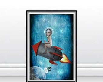 Space Art Print - Space Rocket Art - Rocket To Moon - A3 Art Print - Aim For The Moon