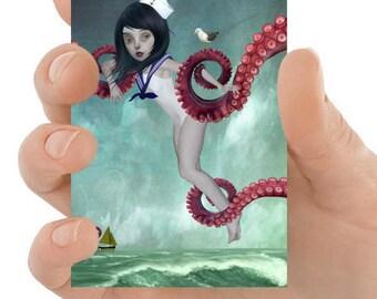 Sailor Girl Art - ACEO Art Card - Big Eyes Art - Big Eyed Girl - Miniature Art Print - ACEO Art Print - Lowbrow Art Card - A Distraction