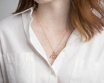 Beholder Charm Necklace. Modern Boho Charm Necklace. Gold Fill Chain. Simple small necklace. Rose Gold. Mixed metal. Eye Necklace.
