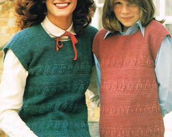 Downloadable Vintage knitting Pattern - Mother Daughter Matching Slipovers from 1980 - PDF Pattern - retro 80's Sweater