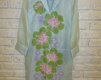 Vintage ALFRED SHAHEEN 1960's Floral Print Ice Blue Dress Pink Green Flowers Size 10 Tunic Shift Dress