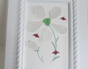 Sea Glass, Beach Glass , Hand Painted Flower Picture, With Lady Bugs, in a Lovely White Wood Frame