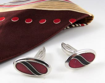 Vintage Cuff Links, Red Maroon Black, Silvertone, Sarah Coventry