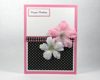 Floral birthday card, elegant birthday card, happy birthday card for her, mom's birthday, daughter's birthday, pink black white