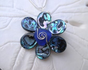 Blue Sea Glass Necklace Abalone Shell Flower Beach Glass Jewelry Sterling