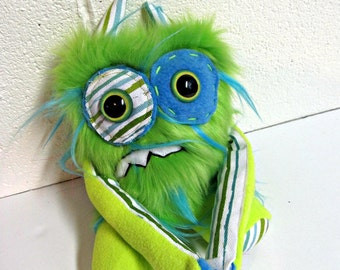 Grumpy Monster Plush - Handmade Plush Monster - Green & Turquoise Faux Fur Monster - OOAK Monster Doll - Hand Embroidered Toy - Weird Toy