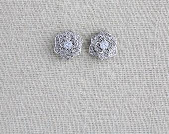 Crystal stud earrings, Bridal stud earrings, Wedding earrings, Rose Gold earrings, Flower stud earrings, Bridesmaid earrings, Silver, BELLA