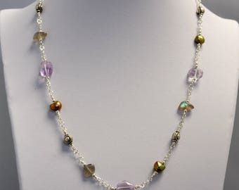 Amethyst, Labradorite and Freshwater Pearl Station Necklace with Matching Earrings
