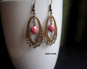 Brass Drop Earrings - Chandelier - Bohemian - Vintage Style - Pink Czech Bead - Hoop - Antique - Ornate - Statement - Earrings