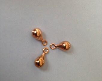 Shop Sale.. 22k Rose Gold Vermeil Teardrop Charms Pendants Earring Drops Dangles, SMALL, 1 pair, 11x5 mm, hp TD11