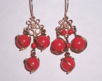 Upcycled 1950s Red Earrings - Pierced