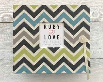 Blue and Green Chevron Stripe | BABY BOOK