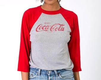 The Vintage Enjoy Coca Cola Super Soft 50/50 Quarter Sleeve Jersey Tee
