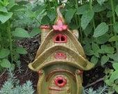 Ceramic Fairy House Storybook hand built Lantern Garden Decoration Gardener Gift Art hand built ceramic clay house gnome claysoul ooak