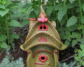 Ceramic Fairy House Storybook hand built Lantern Garden Decoration Gardener Gift Art hand built ceramic clay house gnome claysoul ooak