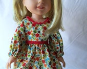 "Wellie Wisher - 14.5"" doll - long sleeve dress - Ready to ship"