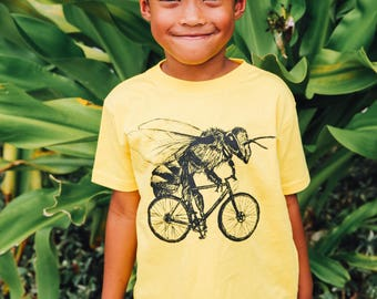 Bee on a Bicycle- Kids T Shirt, Children Tee, Tri Blend Tee, Handmade graphic tee, sizes 2-12