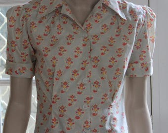 blouse /  1940's WWII  / vintage pattern / cotton / retro / handmade / / pinup / OOAK / forties / classic / 1940's