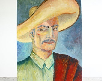 Mid Century Portrait Painting of a Man / Outsider Art / 18 x 24/ Signed Dated 1962