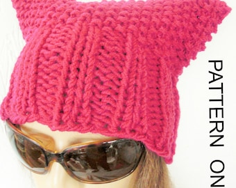 Pussycat Hat Knitting Pattern , Pussy Hat  Pussy Cat Hat Pattern Instant Download Knit hat pattern-Washington march , Permission to Sell Hat