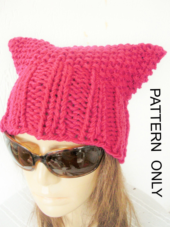 Pussycat hat knitting pattern pussy hat pussy cat hat - Free cat hat knitting pattern ...