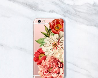 iPhone 7 Case Clear Floral iPhone 6s, SE, 7 Plus, Pink Peonies, Gifts For Her, Mom, Sister