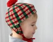 Vintage Toddler Plaid Winter Hat with Pom Pom