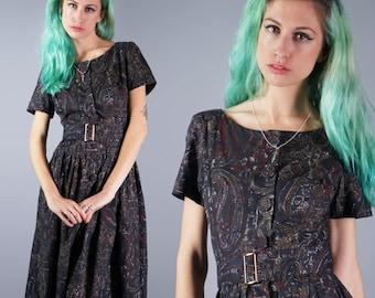 50s Atomic Print Dress 1950s L'Aiglon Dress Black Paisley Dress Cotton Day Dress Casual Sun Dress Laiglon