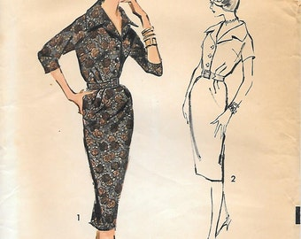 Advance 8762 1950s Wiggle Dress with Blouson Bodice Vintage Sewing Pattern Size 18 Bust 38