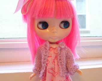 Sweet Hand Knitted Sweater for Blythe or Bratz Repaint/Makeunder Dolls in Lavender...Cardigan Style...Soft Mohair Blend