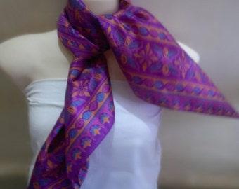 Magenta Pink Pure Silk Scarf, Lightweight Silk Scarf, Silk Scarf, Bohemian Scarf, Square Silk Scarf,  Pink Floral Scarf, Boho Silk Scarf