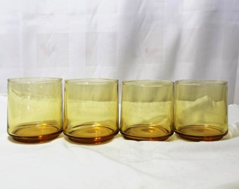 Set of 4 Amber Loball Rocks Glasses, 8 oz.